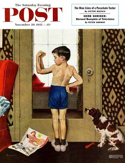 George Hughes Saturday Evening Post Young Charles Atlas 1952_11_29 | The Saturday Evening Post Graphic Art Covers 1931-1969