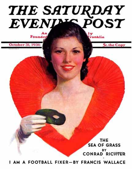 George W Gage Saturday Evening Post Halloween Party-Goer 1936_10_31 | The Saturday Evening Post Graphic Art Covers 1931-1969