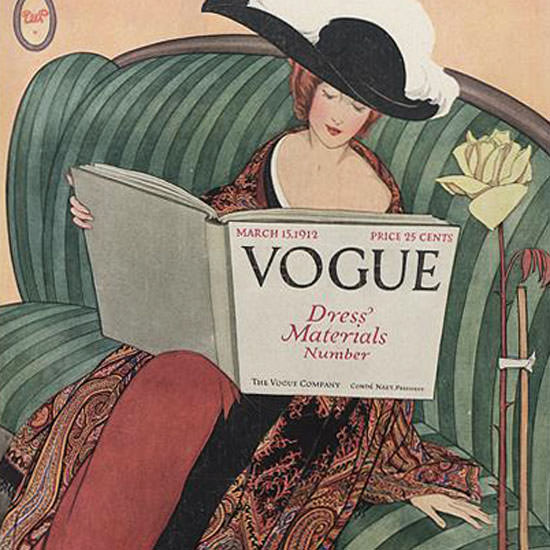 George Wolfe Plank Vogue Cover 1912-03-15 Copyright crop | Best of Vintage Cover Art 1900-1970