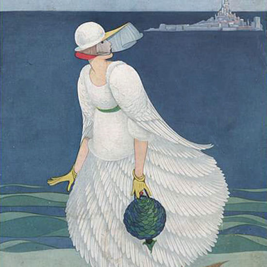 George Wolfe Plank Vogue Cover 1916-08-01 Copyright crop | Best of Vintage Cover Art 1900-1970