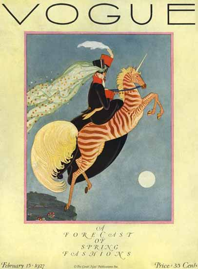 George Wolfe Plank Vogue Cover 1927-02-15 Copyright | Vogue Magazine Graphic Art Covers 1902-1958