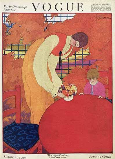 Georges Lepape Vogue Cover 1918-10-15 Copyright | Vogue Magazine Graphic Art Covers 1902-1958