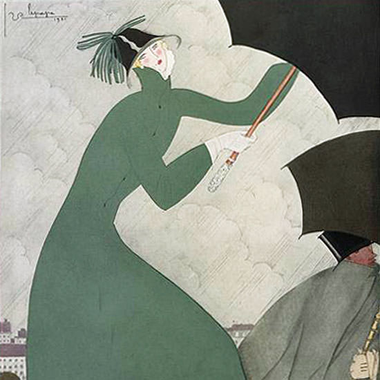 Georges Lepape Vogue Cover 1921-10-01 Copyright crop | Best of 1920s Ad and Cover Art