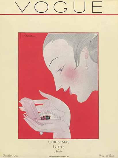 Georges Lepape Vogue Cover 1923-12-01 Copyright | Vogue Magazine Graphic Art Covers 1902-1958
