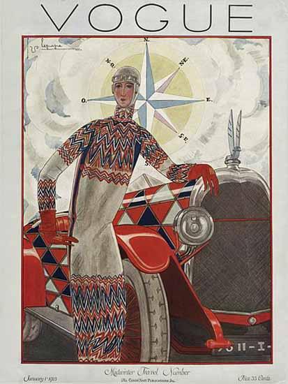 Georges Lepape Vogue Cover 1925-01-01 Copyright | Vogue Magazine Graphic Art Covers 1902-1958