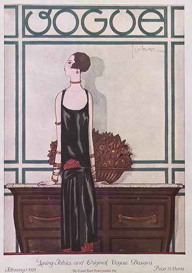 Georges Lepape Vogue Cover 1925-02-01 Copyright | Vogue Magazine Graphic Art Covers 1902-1958