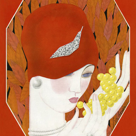 Georges Lepape Vogue Cover 1927-08-15 Copyright crop | Best of 1920s Ad and Cover Art