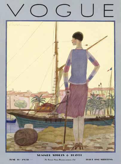 Georges Lepape Vogue Cover 1928-06-15 Copyright | Vogue Magazine Graphic Art Covers 1902-1958
