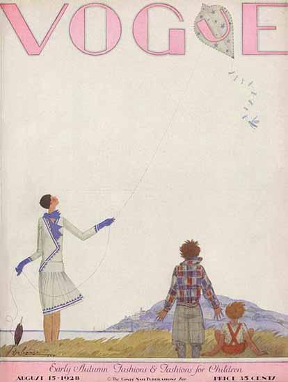 Georges Lepape Vogue Cover 1928-08-15 Copyright | Vogue Magazine Graphic Art Covers 1902-1958