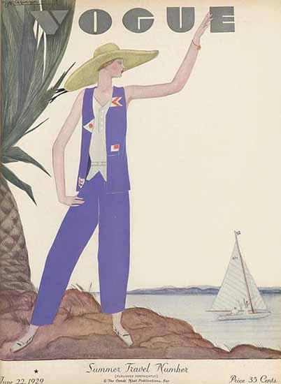 Georges Lepape Vogue Cover 1929-06-22 Copyright | Vogue Magazine Graphic Art Covers 1902-1958