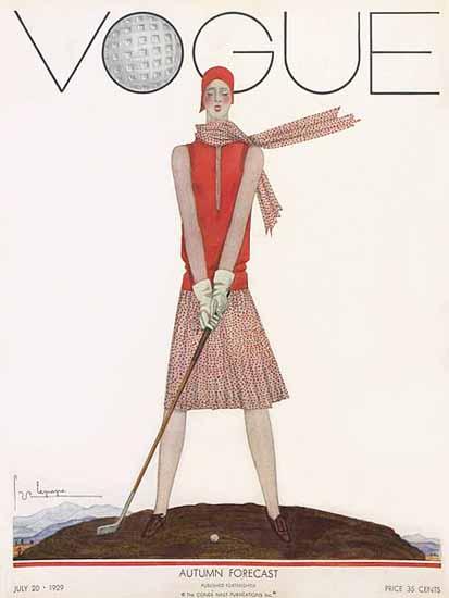 Georges Lepape Vogue Cover 1929-07-20 Copyright | Vogue Magazine Graphic Art Covers 1902-1958