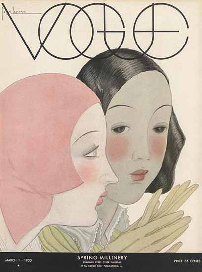 Georges Lepape Vogue Cover 1930-03-01 Copyright | Vogue Magazine Graphic Art Covers 1902-1958