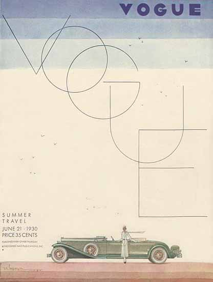 Georges Lepape Vogue Cover 1930-06-21 Copyright | Vogue Magazine Graphic Art Covers 1902-1958
