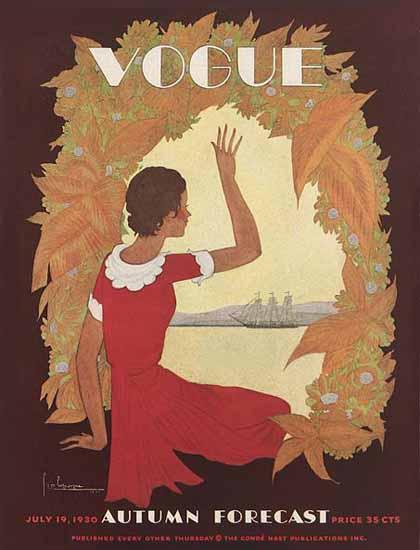 Georges Lepape Vogue Cover 1930-07-19 Copyright | Vogue Magazine Graphic Art Covers 1902-1958
