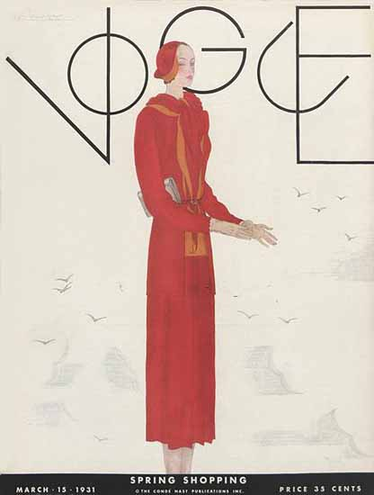 Georges Lepape Vogue Cover 1931-03-15 Copyright | Vogue Magazine Graphic Art Covers 1902-1958