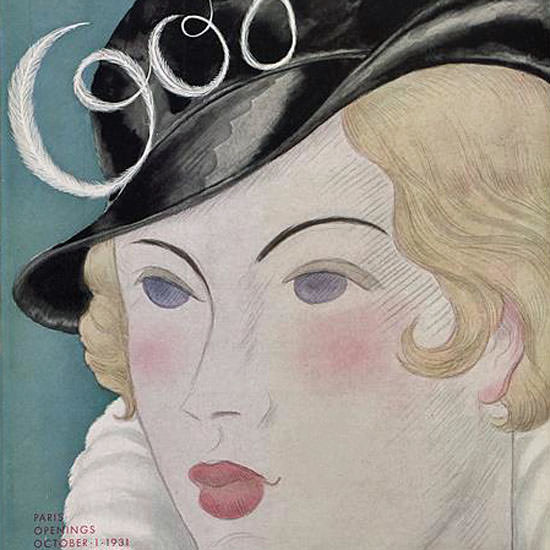 Georges Lepape Vogue Cover 1931-10-01 Copyright crop | Best of Vintage Cover Art 1900-1970
