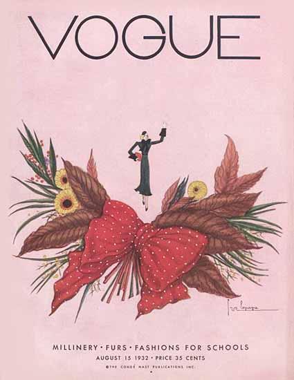 Georges Lepape Vogue Cover 1932-08-15 Copyright | Vogue Magazine Graphic Art Covers 1902-1958