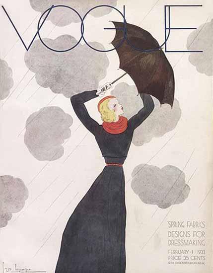 Georges Lepape Vogue Cover 1933-02-01 Copyright | Vogue Magazine Graphic Art Covers 1902-1958