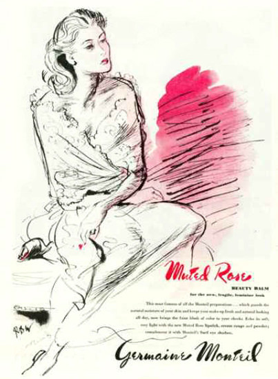 Germaine Monteil Muted Rose Beauty Balm 1945 Rene Bouet-Willaumez | Sex Appeal Vintage Ads and Covers 1891-1970