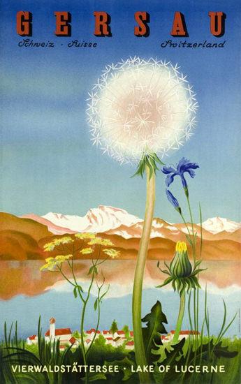Gersau Vierwaldstaettersee Lake Lucerne 1940s | Vintage Travel Posters 1891-1970