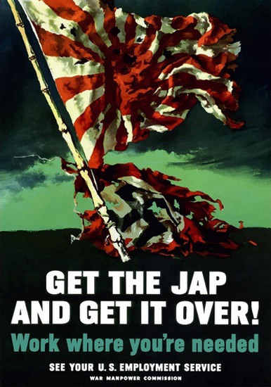 Get The Jap And Get It Over Tattered War Flags | Vintage War Propaganda Posters 1891-1970