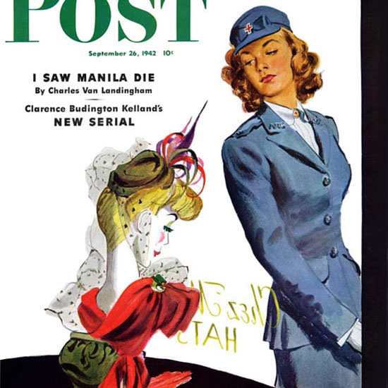 Gilbert Bundy Saturday Evening Post WAC Hat 1942_09_26 Copyright crop | Best of 1940s Ad and Cover Art