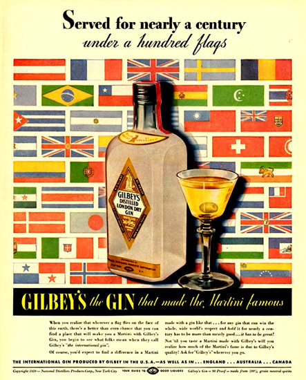 Gilbeys Gin Served For Nearly A Century 1939 | Vintage Ad and Cover Art 1891-1970