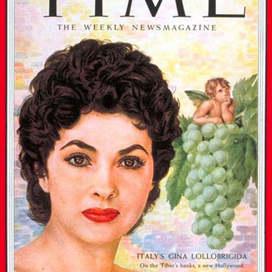 Gina Lollobrigida Time Magazine 1954-08 by Boris Chaliapin crop | Best of Vintage Cover Art 1900-1970