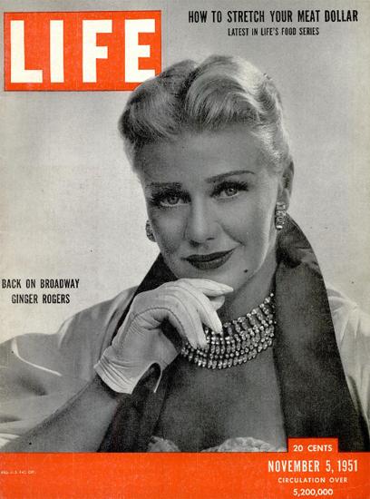 Ginger Rogers back on Broadway 5 Nov 1951 Copyright Life Magazine | Life Magazine BW Photo Covers 1936-1970