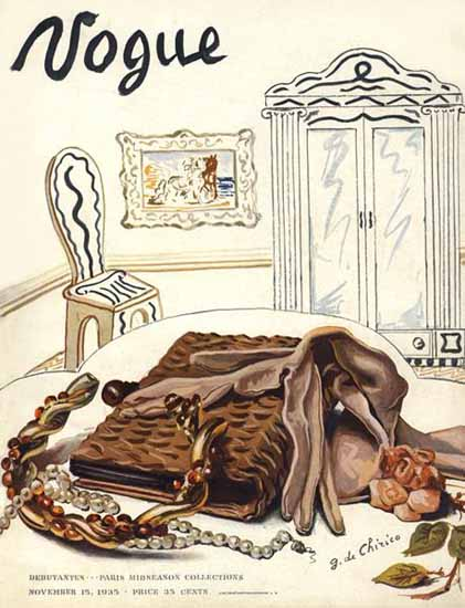 Giorgio de Chirico Vogue Cover 1935-11-15 Copyright | Vogue Magazine Graphic Art Covers 1902-1958