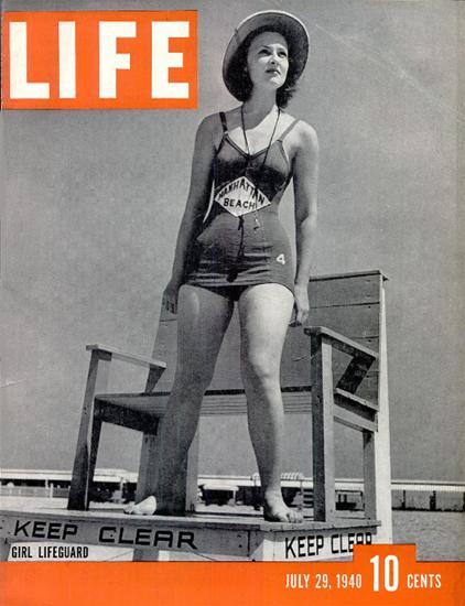 Girl Lifeguard 29 Jul 1940 Copyright Life Magazine | Life Magazine BW Photo Covers 1936-1970