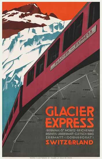 Glacier Express St Moritz Zermatt Switzerland 1925 | Vintage Travel Posters 1891-1970