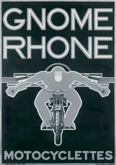 Gnome Rhone Motocyclettes Paris Motorcycles | Vintage Travel Posters 1891-1970