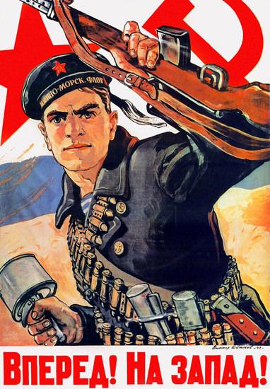 Go West USSR 1942   Vintage War Propaganda Posters 1891-1970