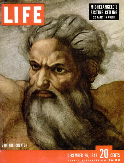 God the Creator by Michelangelo 26 Dec 1949 Copyright Life Magazine | Life Magazine Color Photo Covers 1937-1970