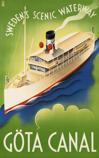 Goeta Canal Swedens Scenic Waterway 1930s   Vintage Travel Posters 1891-1970