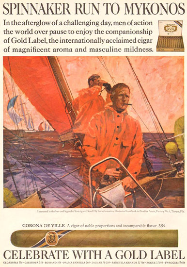 Gold Label Cigars Spinnaker To Mykonos 1968 | Vintage Ad and Cover Art 1891-1970