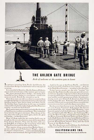 Golden Gate Bridge 1945 Arch Of Welcome | Vintage War Propaganda Posters 1891-1970