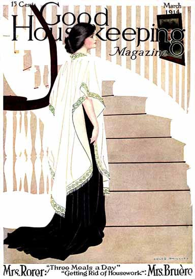 Good Housekeeping 1914 Lady And Stairs Coles Phillips | Sex Appeal Vintage Ads and Covers 1891-1970