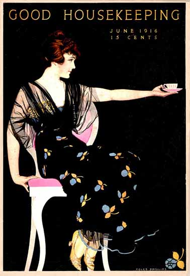 Good Housekeeping 1916 Lady Cup Of Tea Coles Phillips | Sex Appeal Vintage Ads and Covers 1891-1970