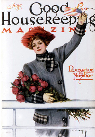 Good Housekeeping Copyright 1911 Lady With Roses | Vintage Ad and Cover Art 1891-1970
