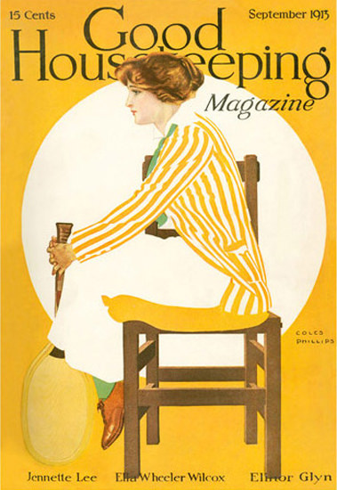 Good Housekeeping Copyright 1913 The Lady Plays Tennis Coles Phillips | Vintage Ad and Cover Art 1891-1970