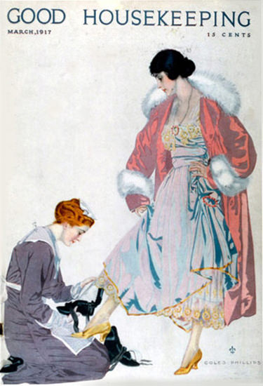 Good Housekeeping Copyright 1917 Lady And Maidservant Coles Phillips | Vintage Ad and Cover Art 1891-1970