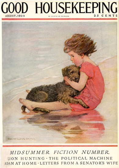 Good Housekeeping Copyright 1922 Little Girl And Dog | Vintage Ad and Cover Art 1891-1970