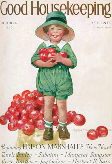 Good Housekeeping Copyright 1925 Kid And Red Apples   Vintage Ad and Cover Art 1891-1970