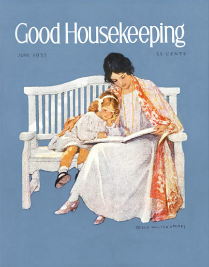 Good Housekeeping Copyright 1925 Mother Child On Bench | Vintage Ad and Cover Art 1891-1970