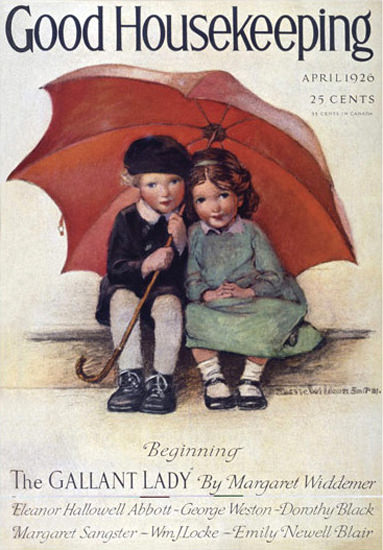 Good Housekeeping Copyright 1926 Kids Under An Umbrella | Vintage Ad and Cover Art 1891-1970