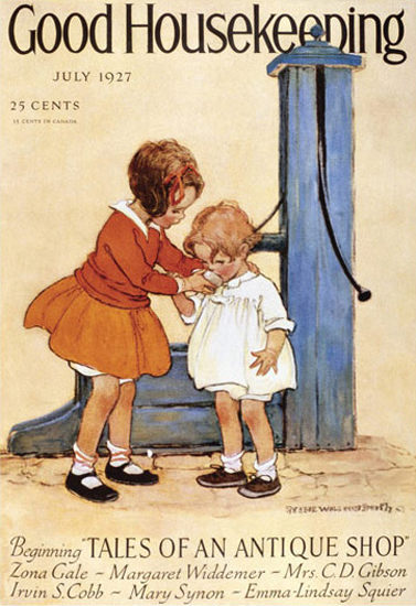 Good Housekeeping Copyright 1927 Kids At The Fountain   Vintage Ad and Cover Art 1891-1970