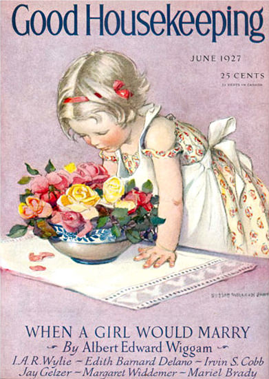 Good Housekeeping Copyright 1927 Little Girl And Flowers | Vintage Ad and Cover Art 1891-1970