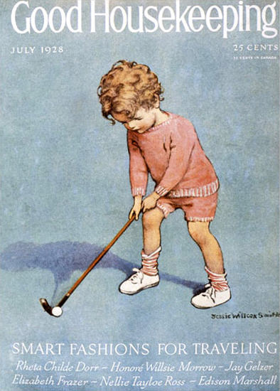Good Housekeeping Copyright 1928 Kid Golfing | Vintage Ad and Cover Art 1891-1970
